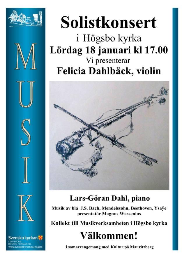 Solistkonsert i Högsbo kyrka med Felicia Dahlbäck